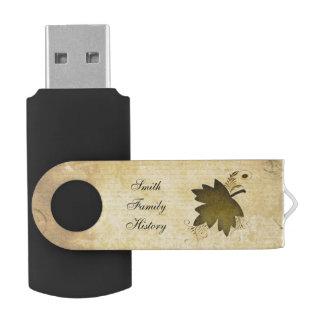 Vintage Maple Leaf Family History Flash Drive