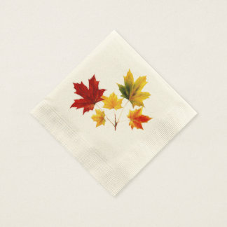 Vintage maple leaves coined cocktail napkin
