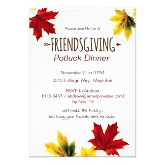 vintage maple leaves - Friendsgiving invitation