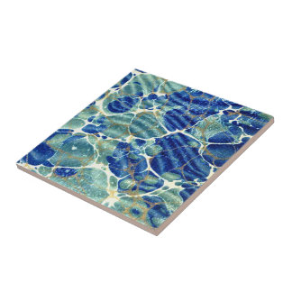 Vintage Marbled Paper Effect Ceramic Tile
