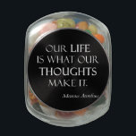 "Vintage Marcus Aurelius Life Thoughts Make Quote Glass Jar<br><div class=""desc"">Jelly Belly Glass Jar Custom Black Template Blank Customized Candy Jar - Personalize with your own names, pattern, design, quotes, monograms, or photographs. Use our cool template, artwork, photo, graphic, or illustration, then add a name, text, quote, or monogram to create your own custom jellybean candy jar. Click the &quot;Customize...</div>"