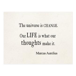 Vintage Marcus Aurelius Universe Change Life Quote Postcard