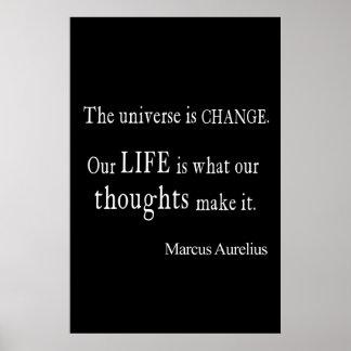 Vintage Marcus Aurelius Universe Change Life Quote Poster