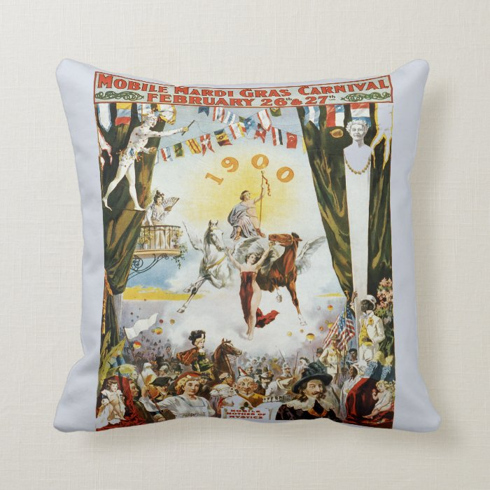 Vintage Mardi Gras Poster Throw Pillow