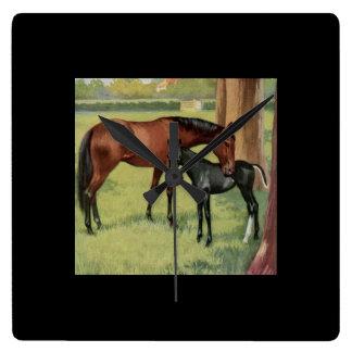 Vintage Mare Foal Colt Horse Equestrian Square Wall Clock