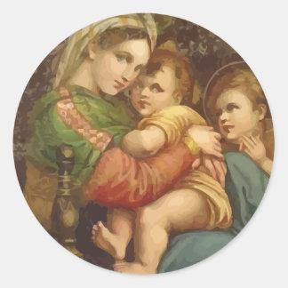 Vintage Maria y pegatinas del navidad de Jesús Pegatina Redonda