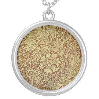 Vintage Marigold William Morris Wallpaper Design Silver Plated Necklace