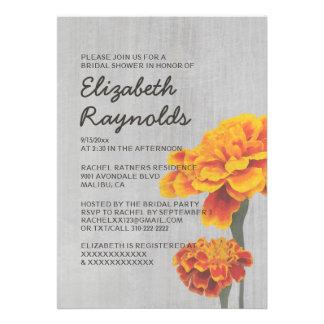 Vintage Marigolds Bridal Shower Invitations Card