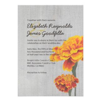 Vintage Marigolds Wedding Invitations Custom Invitations