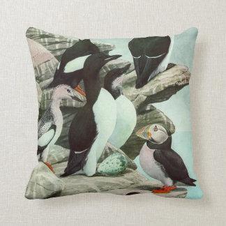 Vintage Marine Animal Life, Aquatic Birds Puffins Pillow