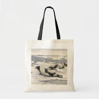 Vintage Marine Animals, Harp Seals in Arctic Snow Tote Bag