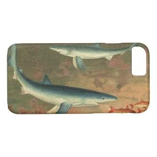Vintage Marine Aquatic Life Blue Shark Eating Fish iPhone 8/7 Case