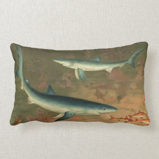 Vintage Marine Aquatic Life Blue Shark Eating Fish Lumbar Pillow