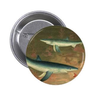 Vintage Marine Aquatic Life Blue Shark Eating Fish Pinback Button