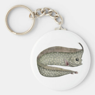 Vintage Marine Aquatic Life, Crested Oarfish, Fish Basic Round Button Keychain