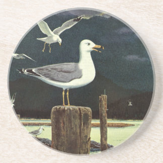 Vintage Marine Birds Animals, Seagull Perched Pier Drink Coasters