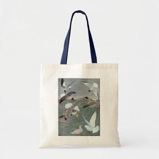 Vintage Marine Birds, Seagulls Flying over Ocean Canvas Bag
