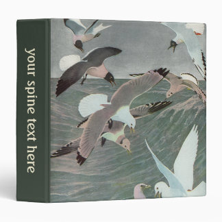 Vintage Marine Birds, Seagulls Flying over Ocean Vinyl Binders