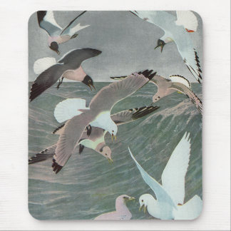 Vintage Marine Birds, Seagulls Flying over Ocean Mouse Pad