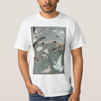 Vintage Marine Birds, Seagulls Flying over Ocean T-Shirt