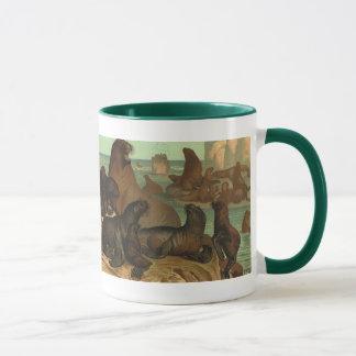 Vintage Marine Life Animal, Sea Lions on the Beach Mug
