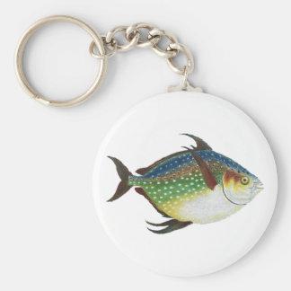 Vintage Marine Life Animal, Tropical Opah Fish Basic Round Button Keychain
