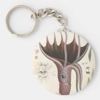Vintage Marine Life Animal, Umbrella Squid Key Chain