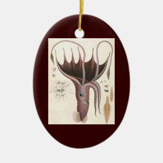 Vintage Marine Life Animal, Umbrella Squid Christmas Tree Ornament