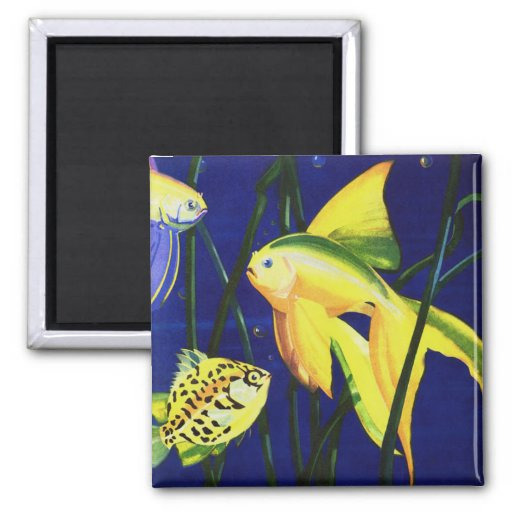 Vintage Marine Life Fish, Fancy Goldfish in Sea Refrigerator Magnet