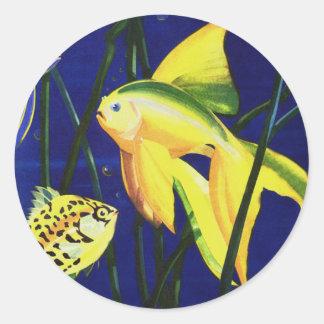 Vintage Marine Life Fish, Fancy Goldfish in Tank Classic Round Sticker
