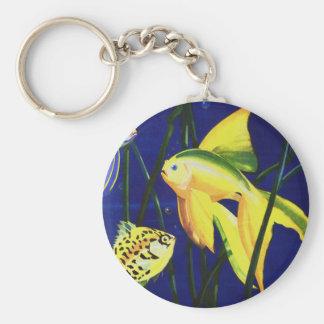 Vintage Marine Life Fish, Fancy Goldfish in Tank Keychain