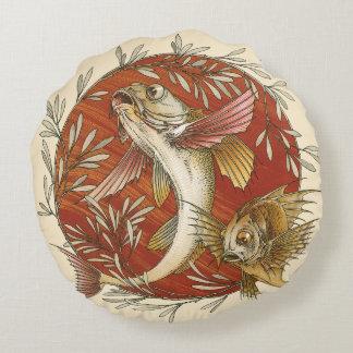 Vintage Marine Life, Japanese Flying Fish Round Pillow