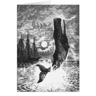 Vintage Marine Life Mammal, Sperm Whale Breaching Greeting Card