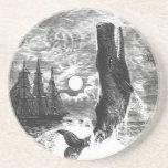 Vintage Marine Life Mammal, Sperm Whale Breaching Coaster