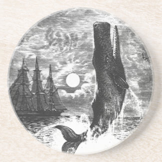 Vintage Marine Life Mammal Sperm Whale Breaching Drink Coaster