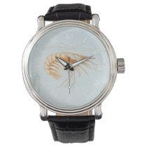 Vintage Marine Life Ocean Animals, Shrimp Anatomy Wrist Watch