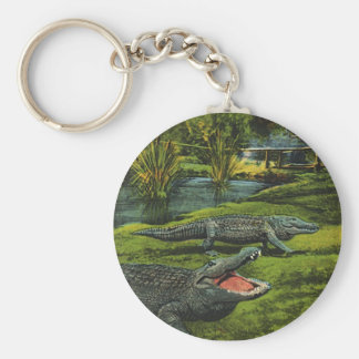 Vintage Marine Life Reptiles, Animals, Crocodiles Basic Round Button Keychain