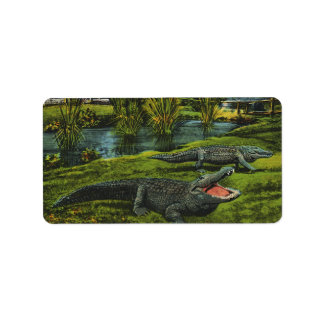 Vintage Marine Life Reptiles, Animals, Crocodiles Address Label