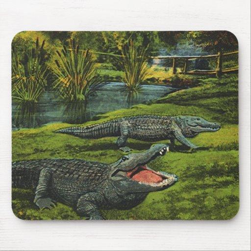 Vintage Marine Life Reptiles, Animals, Crocodiles Mouse Pad