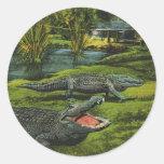 Vintage Marine Life Reptiles, Animals, Crocodiles Round Stickers
