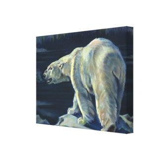 Vintage Marine Mammal, Polar Bear, Iceberg Arctic Canvas Print