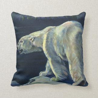 Vintage Marine Mammal, Polar Bear, Iceberg Arctic Pillow