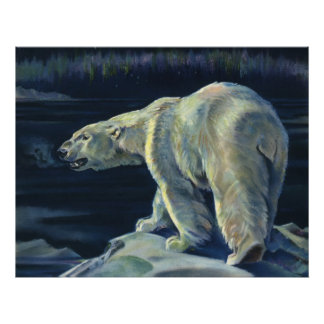Vintage Marine Mammal, Polar Bear, Iceberg Arctic Poster