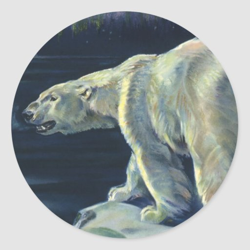 Vintage Marine Mammal, Polar Bear, Iceberg Arctic Round Stickers