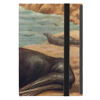 Vintage Marine Mammal Sea Lion by the Seashore Covers For iPad Mini