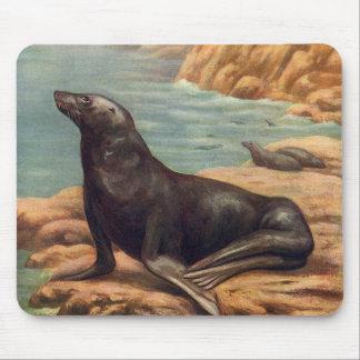 Vintage Marine Mammals, Sea Lion by the Seashore Mouse Pad