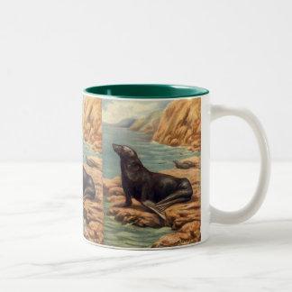 Vintage Marine Mammals, Sea Lion by the Seashore Two-Tone Coffee Mug