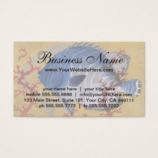 Vintage Marine Ocean Life Tropical Blue Fish Coral Business Card