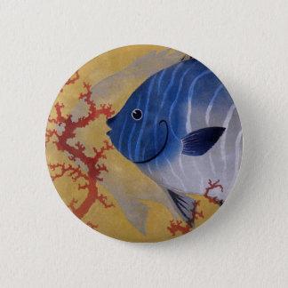 Vintage Marine Ocean Life Tropical Blue Fish Coral Button