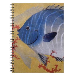 Vintage Marine Ocean Life Tropical Blue Fish Coral Notebook